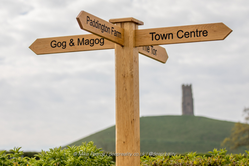 Signpost & Glastonbury Tor   Glastonbury UK